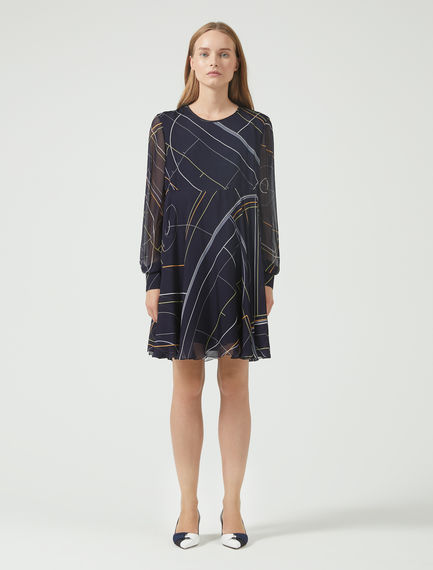 Geometric Chiffon Mini Dress