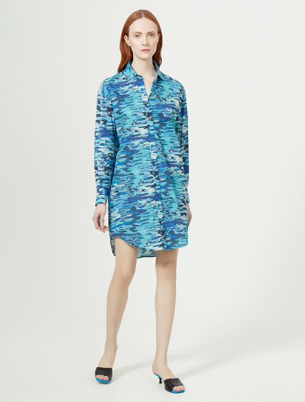 Water Print Muslin Shirt Dress Sportmax