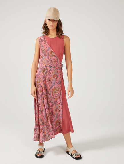 Transforming Paisley Silk Wrap Dress Sportmax