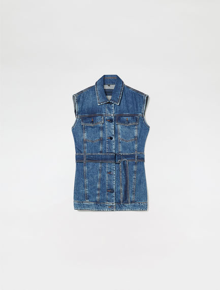 Gilet in denim con retro in tulle