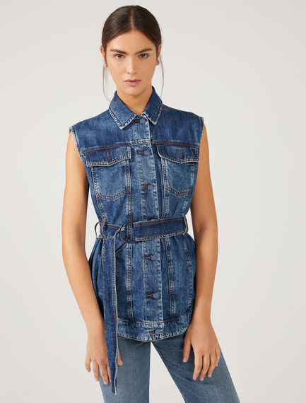 Sleeveless Denim & Tulle Top Sportmax