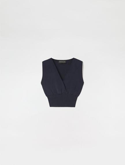 Crossover Viscose Knit Crop Top