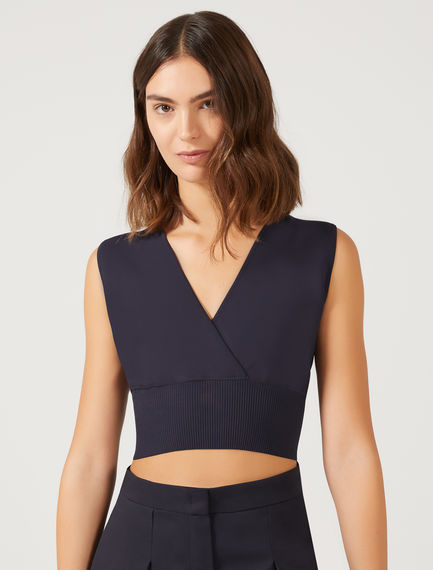 Crossover Viscose Knit Crop Top Sportmax