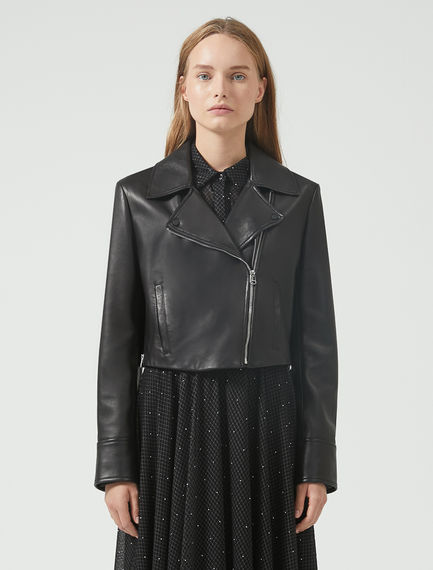 Cropped Nappa Leather Biker Jacket Sportmax