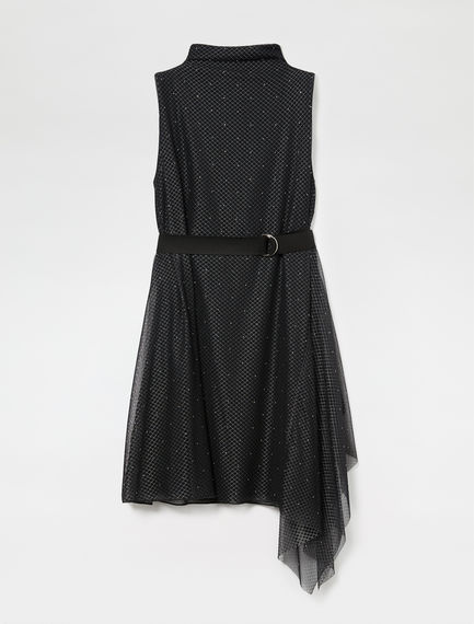 Asymmetric Studded Tulle Dress