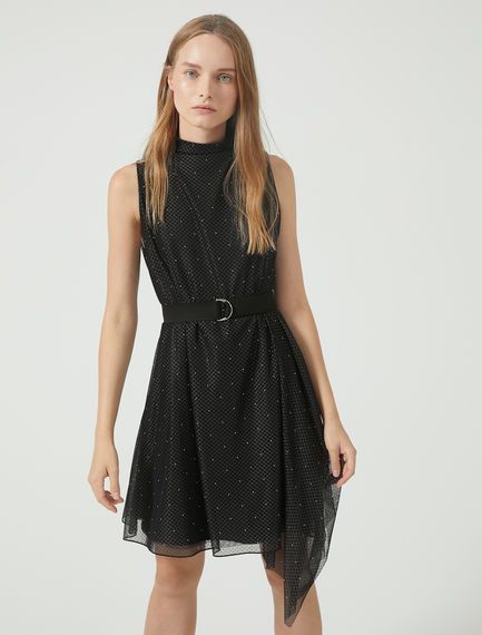 Asymmetric Studded Tulle Dress Sportmax