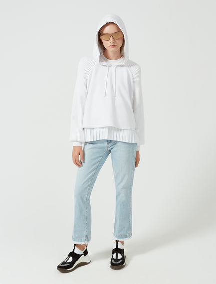 Layered Pleat Cotton Sweatshirt