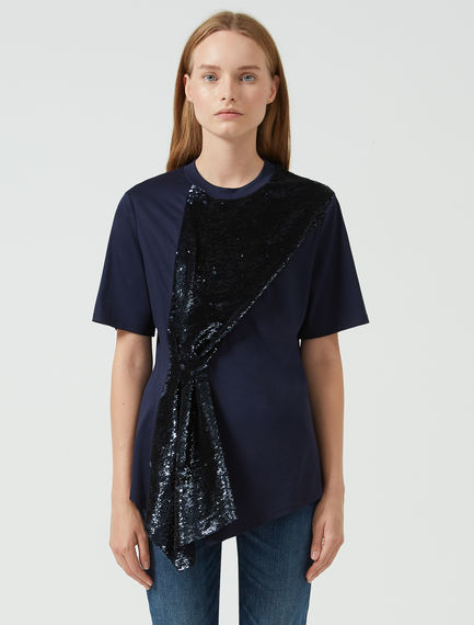 T-shirt con pannello in paillette Sportmax