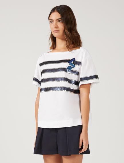 T-shirt con paillette a righe
