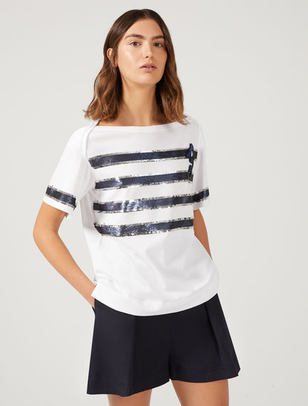 T-shirt con paillette a righe Sportmax