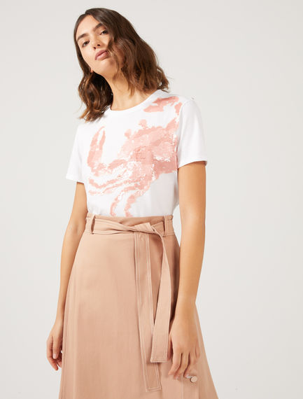T-shirt con granchio in paillette Sportmax