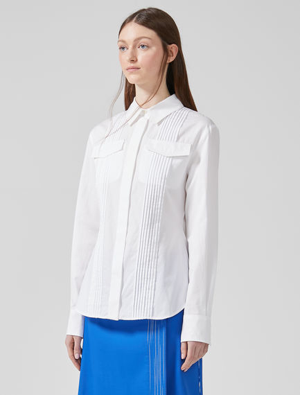 Pleated Cotton Poplin Shirt