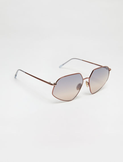 Metal-frame Geometric Sunglasses