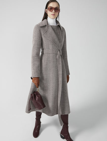 Chevron Wool Wrap Coat