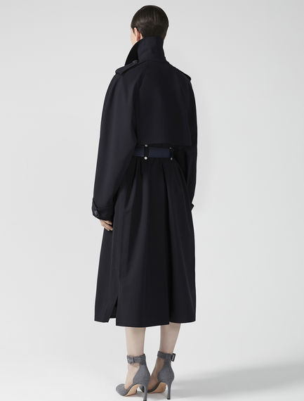 Trimmed Wool Trench Coat