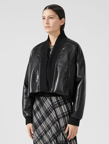 Cropped Eco Leather Jacket