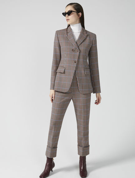 Fitted Check Wool Blazer