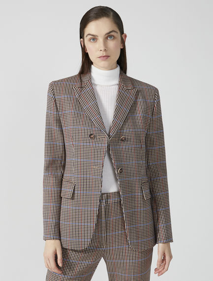 Fitted Check Wool Blazer Sportmax