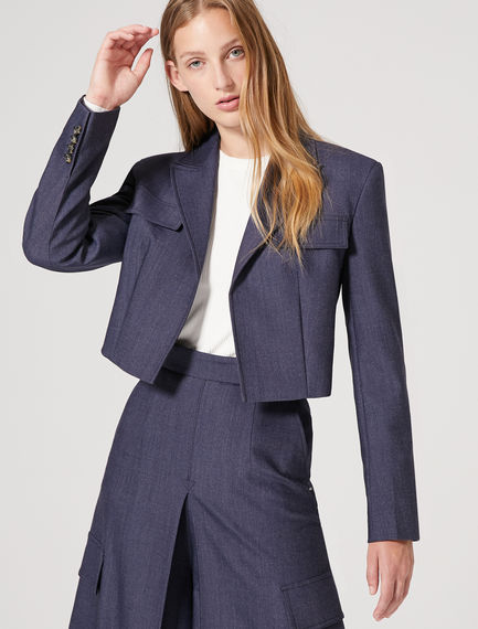 Cropped Wool Viscose Sartorial Jacket