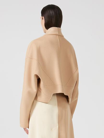 Cropped Kimono-sleeve Cashmere Jacket