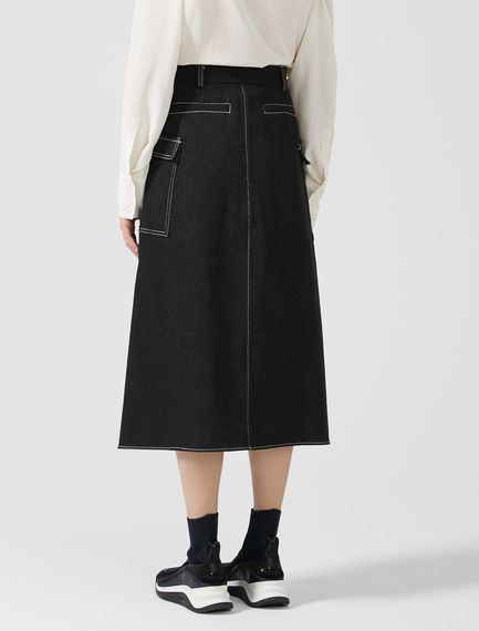 Layered Denim Midi Skirt
