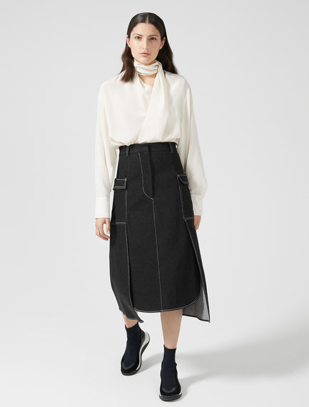 Layered Denim Midi Skirt Sportmax