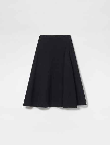 Reverse Pleat Wool Midi Skirt