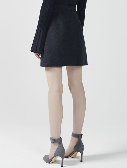A-Line Cashmere Wool Mini Skirt