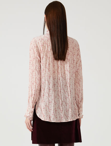 Pleated Silk Floral Shirt