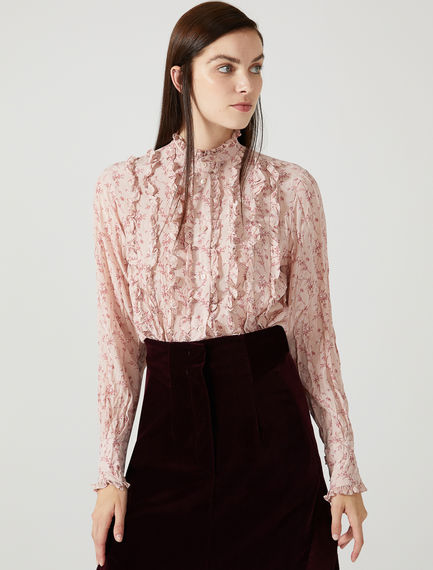 Pleated Silk Floral Shirt Sportmax