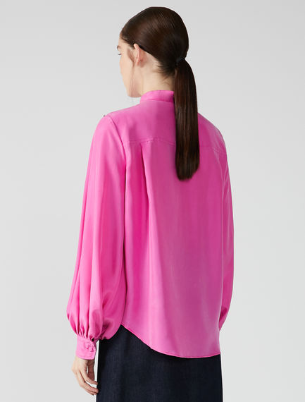 Habotai Silk Collarless Blouse