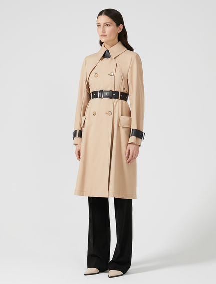 Contrasting Leather Detail Trench Coat