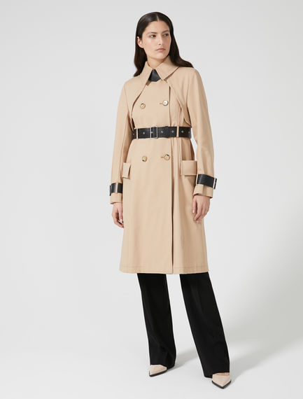 Contrasting Leather Detail Trench Coat Sportmax