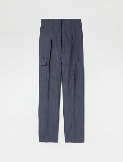 High-Waist Gabardine Utility Trousers
