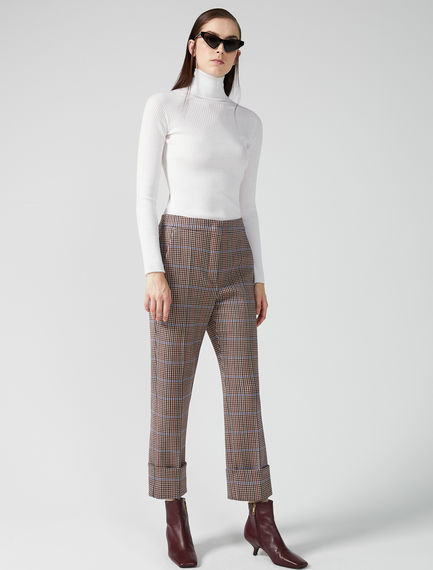 Checked Turn-Up Trousers