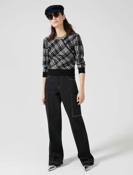 High-Waist Cotton Trousers