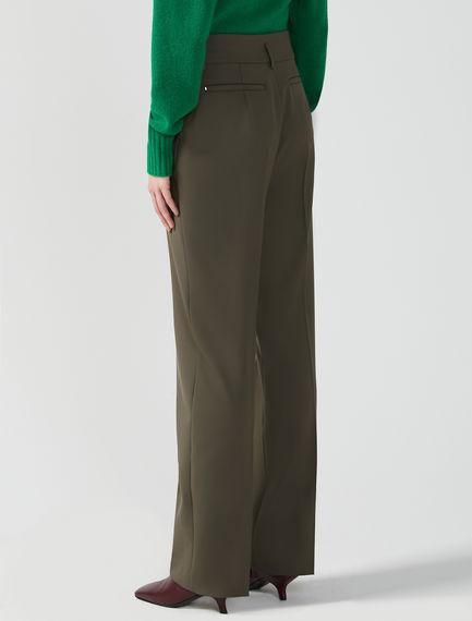 High-Waist Gabardine Trousers