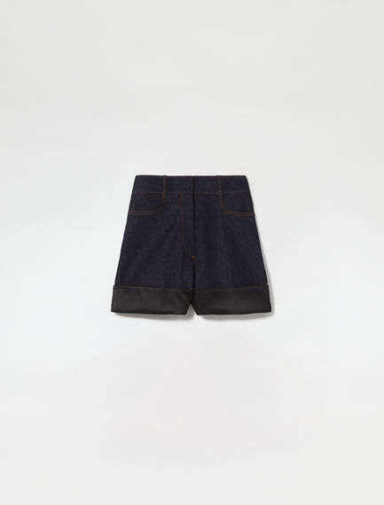 Denim & Satin Turn-up Shorts Sportmax