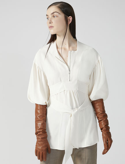 Zipped & Belted Satin Blouse Sportmax
