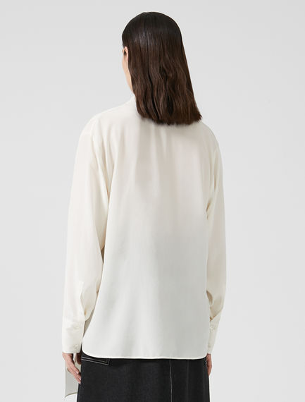 Silk Crepe Sashed Shirt