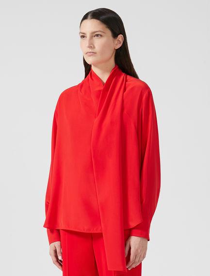 Silk Crepe Sashed Shirt