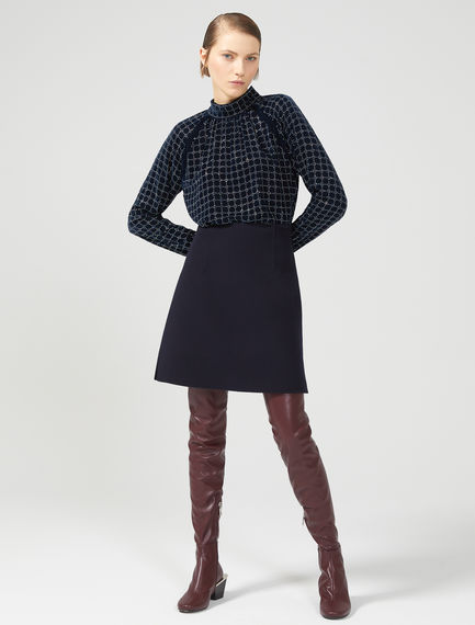 Embellished Velvet Polo Neck