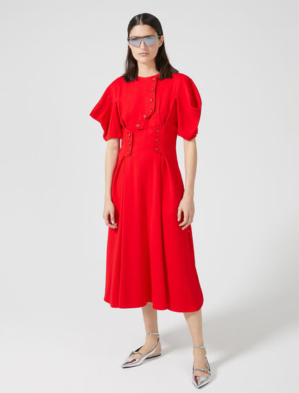 Sculpted Sleeve Button Dress