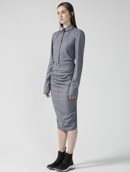 Sartorial Grisaille Wool Shirtdress