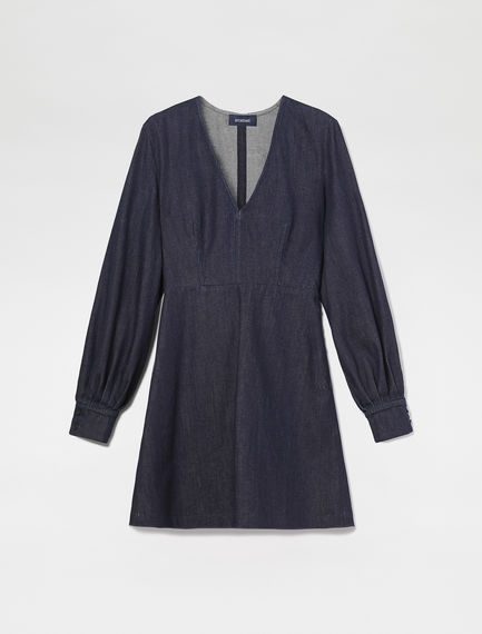 Puff Sleeve Denim Mini Dress Sportmax