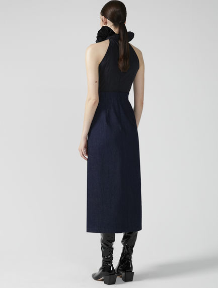 Denim & Taffeta Halter Dress