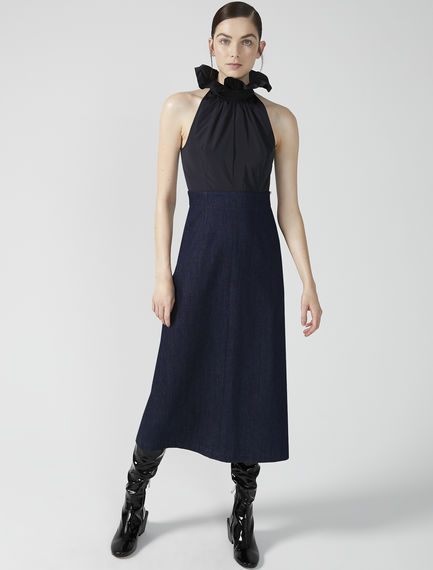 Denim & Taffeta Halter Dress Sportmax