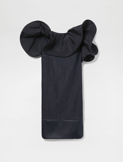 Denim & Taffeta Ruffle Bustier Dress