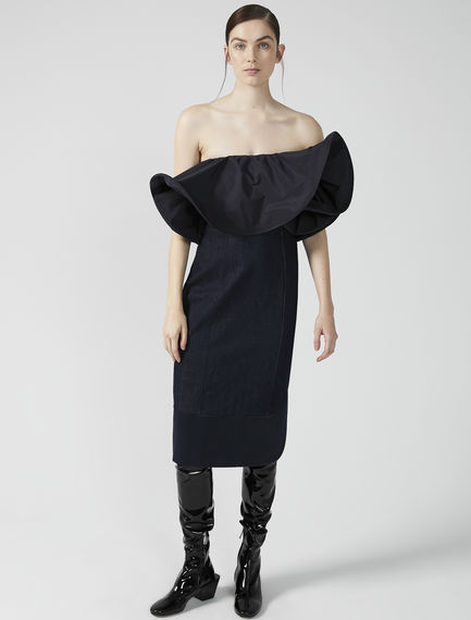 Denim & Taffeta Ruffle Bustier Dress Sportmax