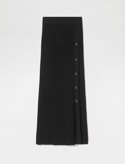 Buttoned Viscose Rib Skirt
